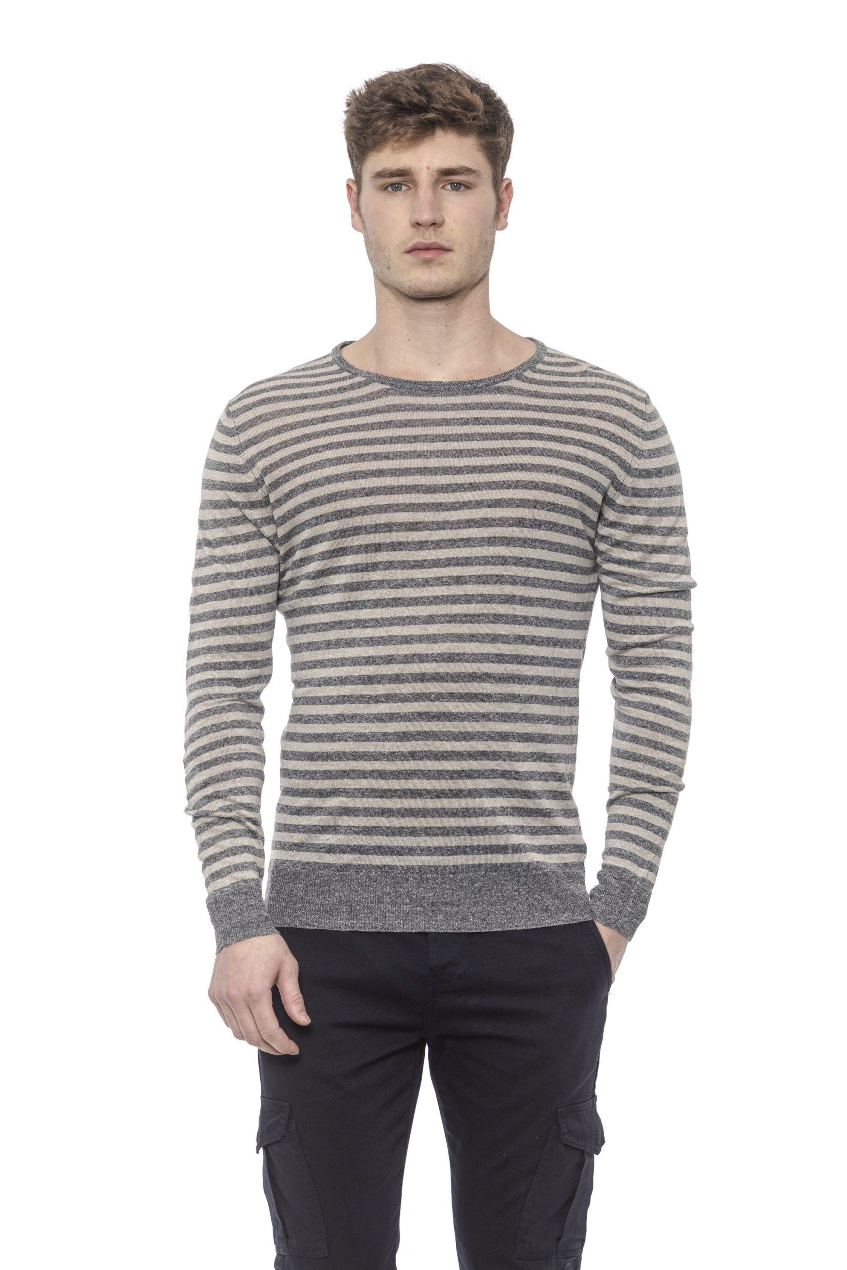 Alpha Studio Men's G R. S C U R O M E L Sweater Gray AL1374482 - IT48 | M