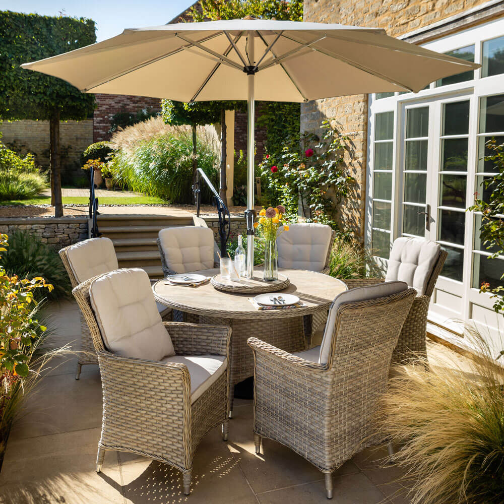 2021 Hartman Heritage 6 Seat Tuscan Round Garden Dining Set with Lazy Susan And Parasol - Beech/Dove