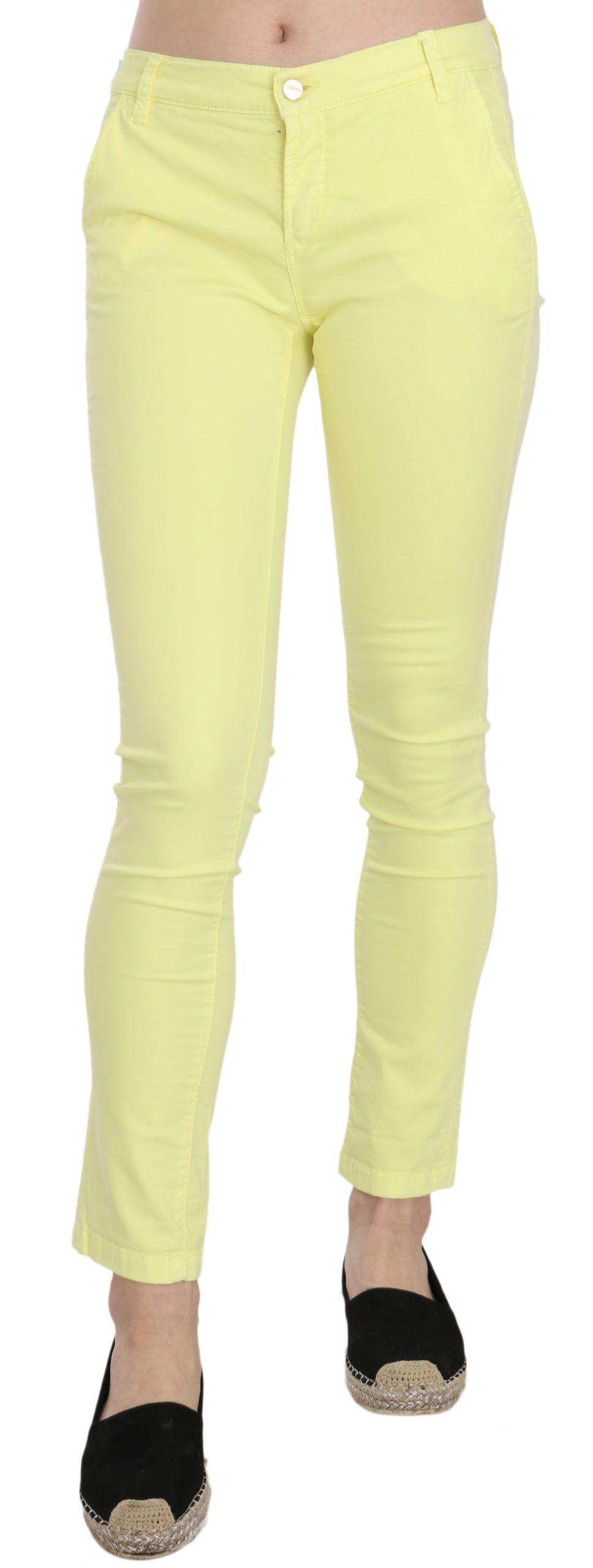 PINKO Women's Cotton Stretch Low Waist Skinny Trouser Yellow PAN70191 - W26