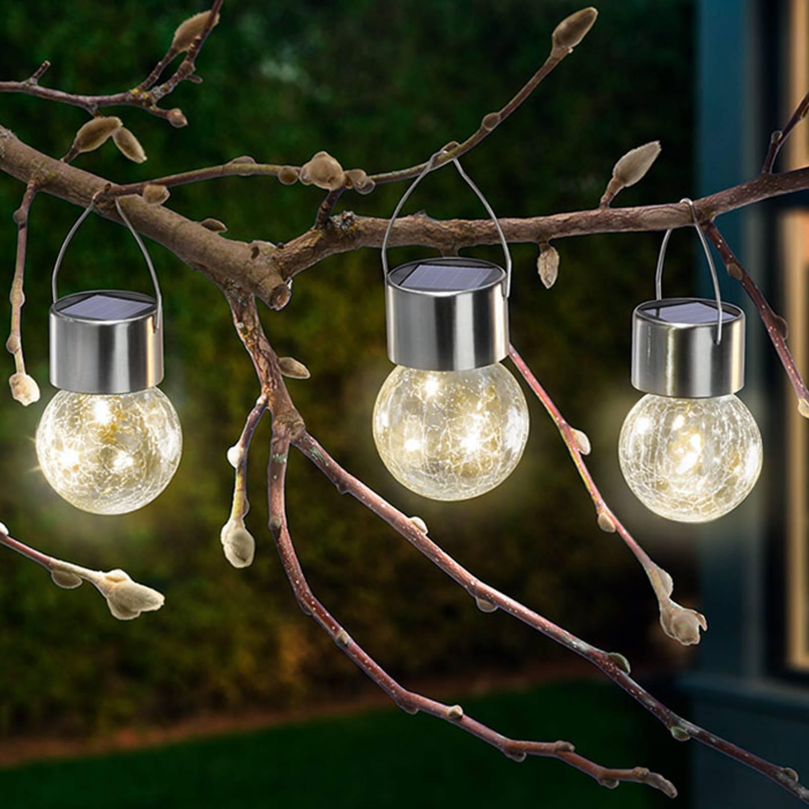 Aurinkokäytt. LED-lamppu Crackle Ball 3 kpl 3 000K