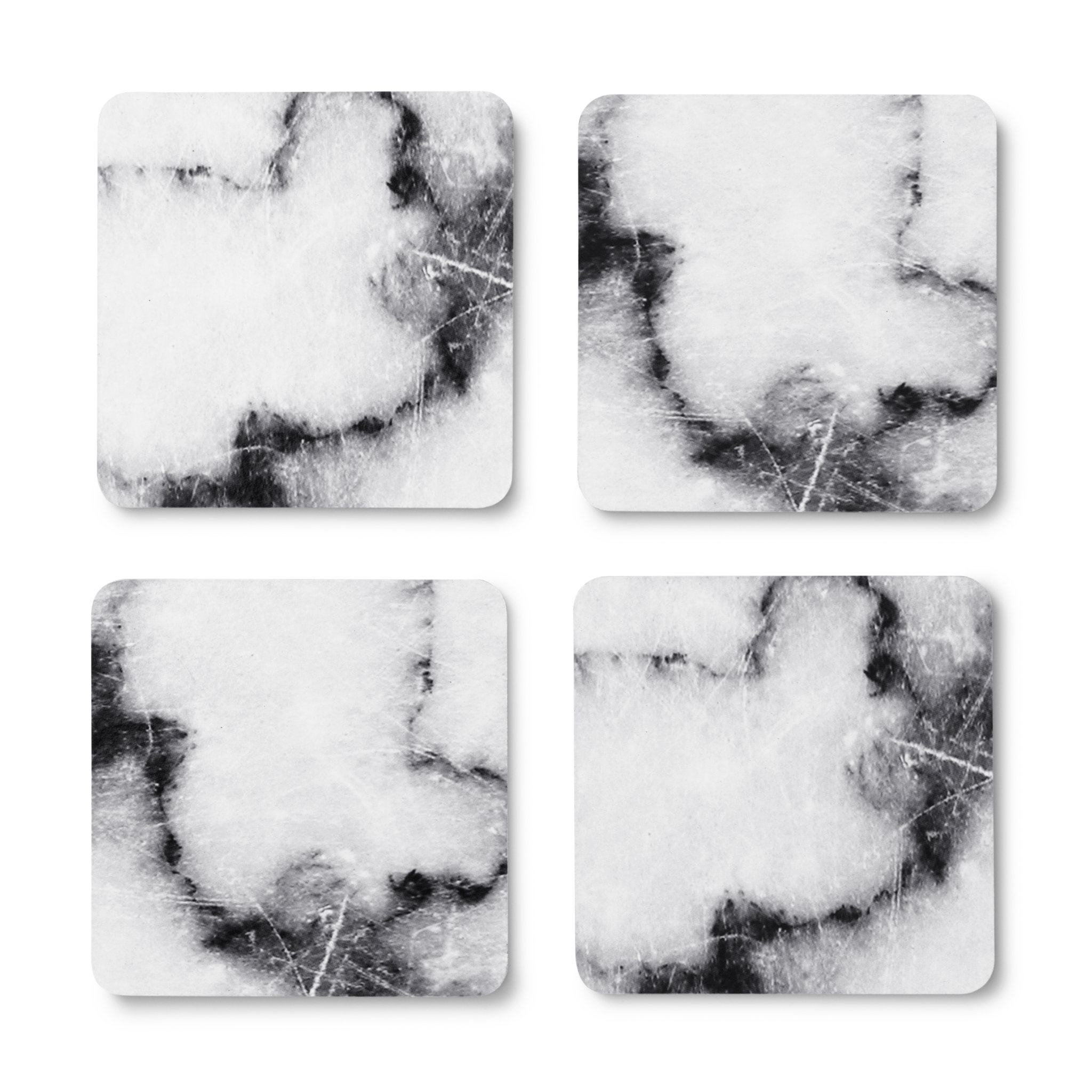 Glasunderlägg marmor, 4-pack
