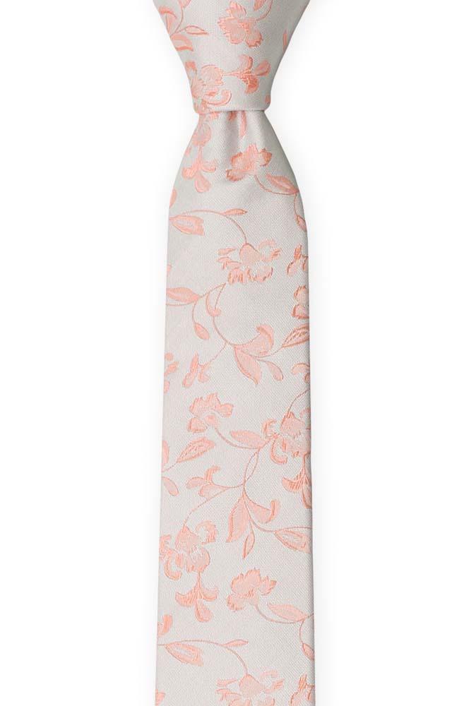 Silke Smale Slips, Stiliserte rødmerosa blomster på sølvgrått