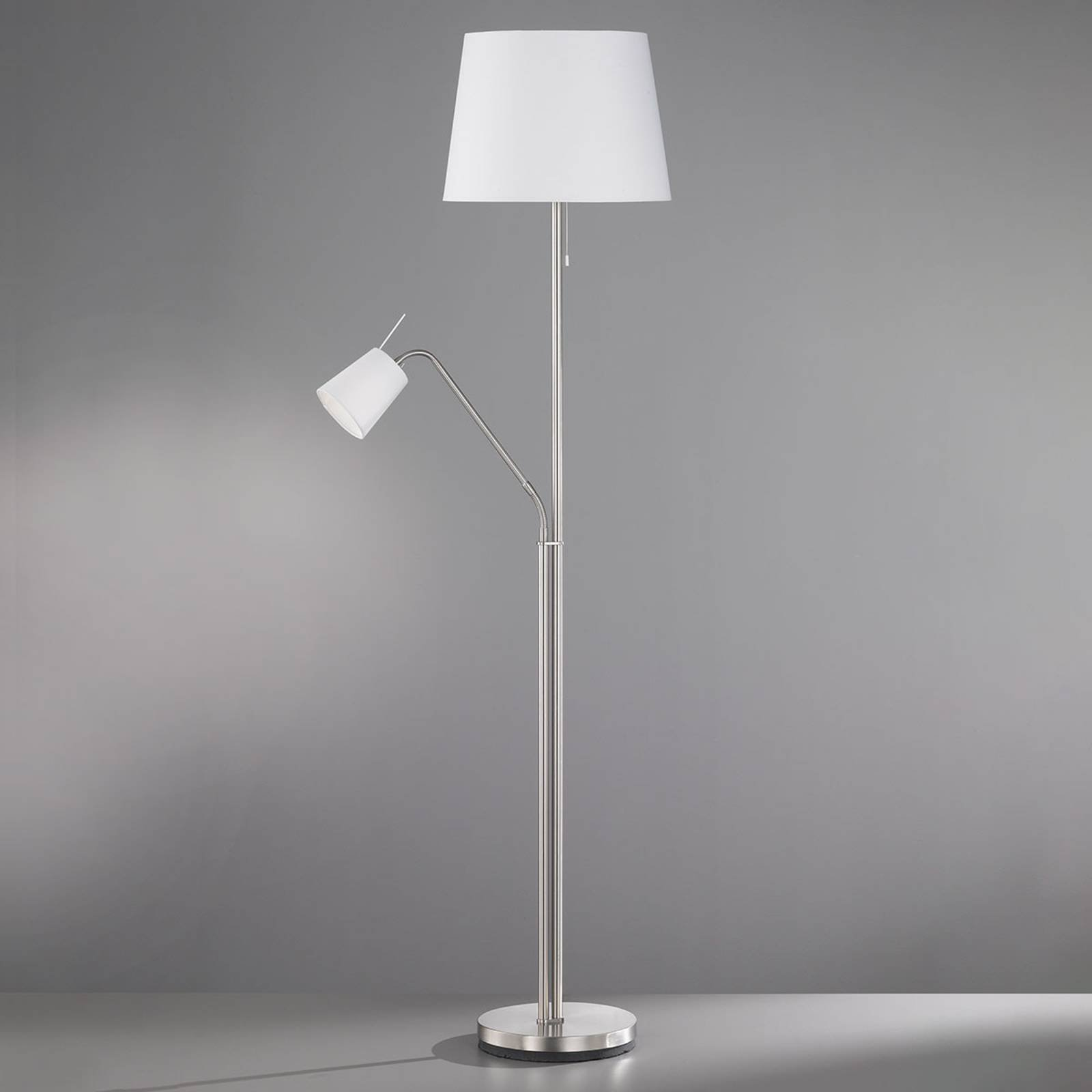 Tekstil-gulvlampe Layer med leselampe hvit