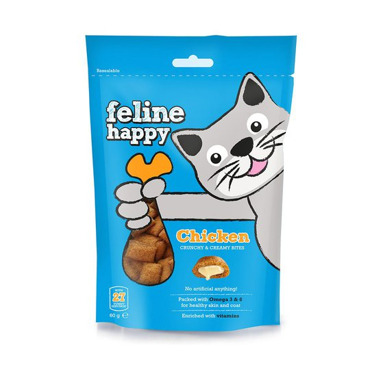 Feline Happy Kyckling Kattgodis 60 g