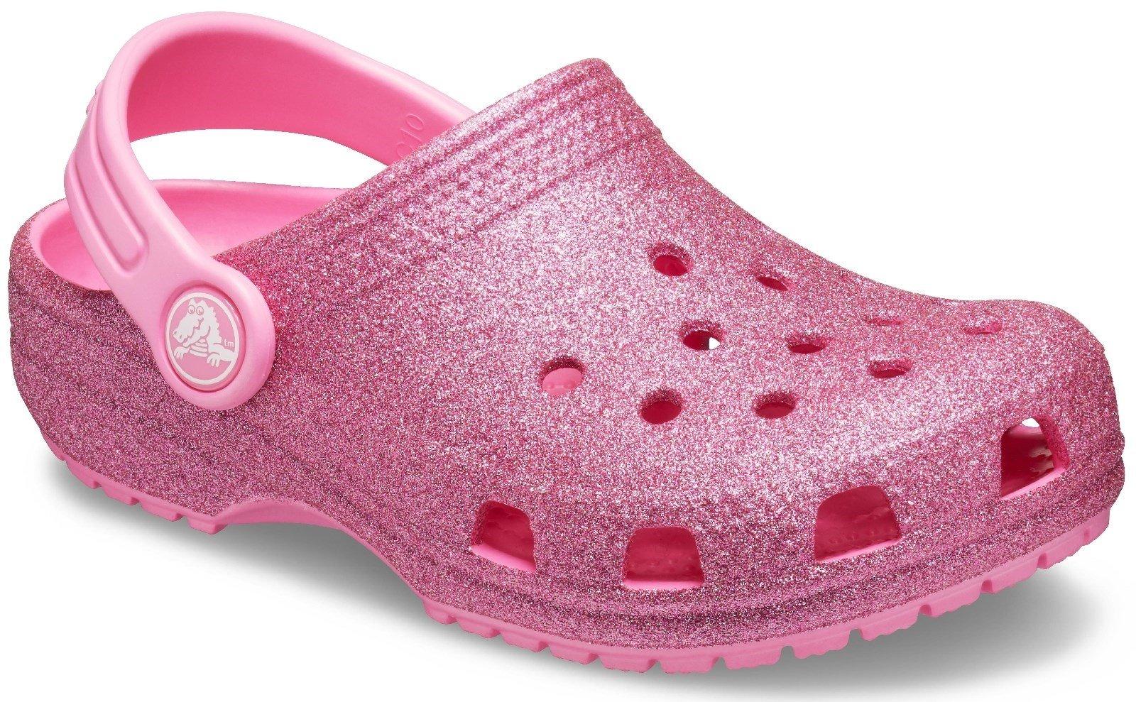 Crocs Kid's Classic Glitter Clog Slip On Sandal Pink Lemonade 27505 - Pink Lemonade 13