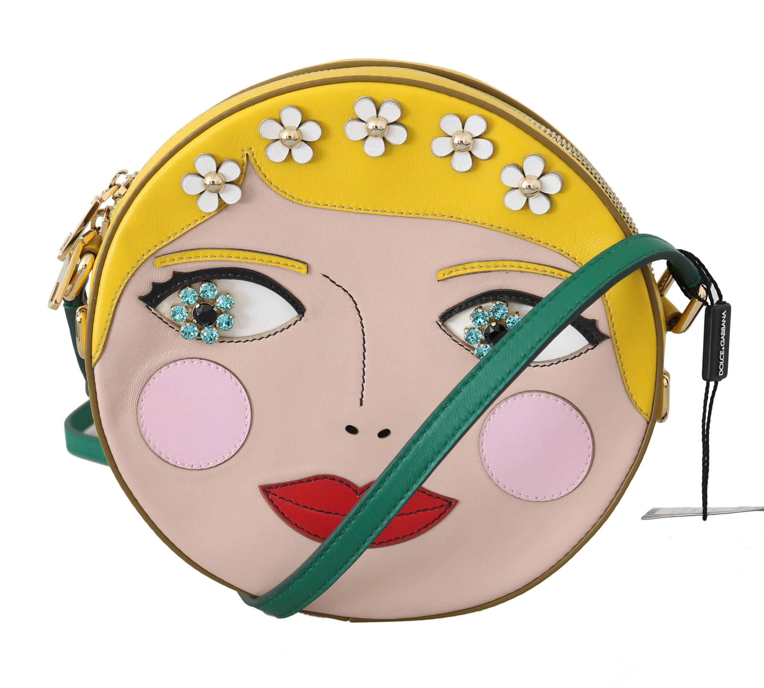 Dolce & Gabbana Women's GLAM Leather Bambola Italian Crossbody Bag Yellow VAS8704