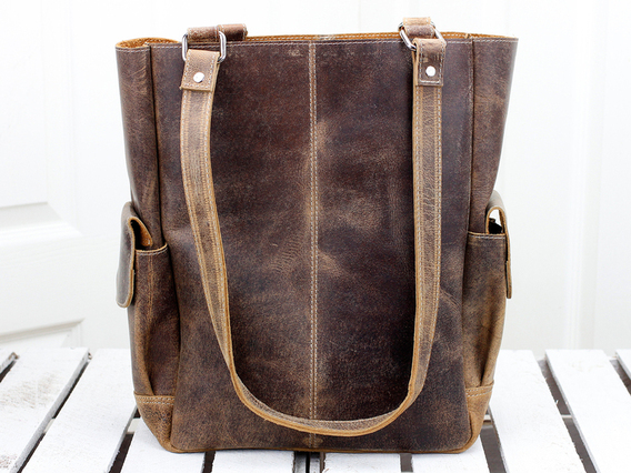 Classic Leather Tote Bag 15 Inch
