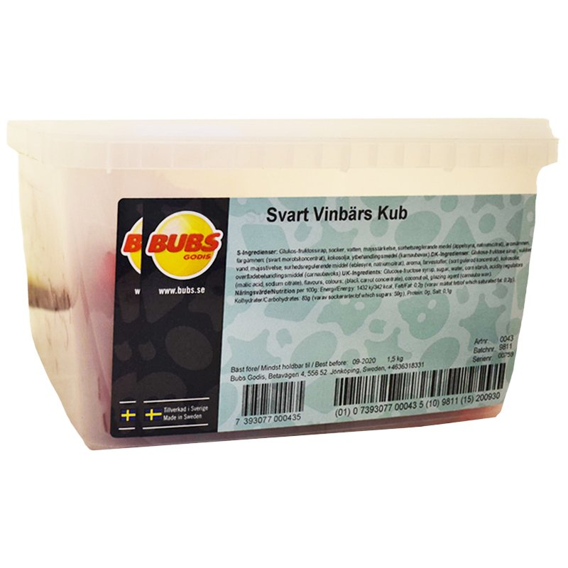 Hel Låda Svarta Vinbärs Godiskuber 1,5kg - 40% rabatt