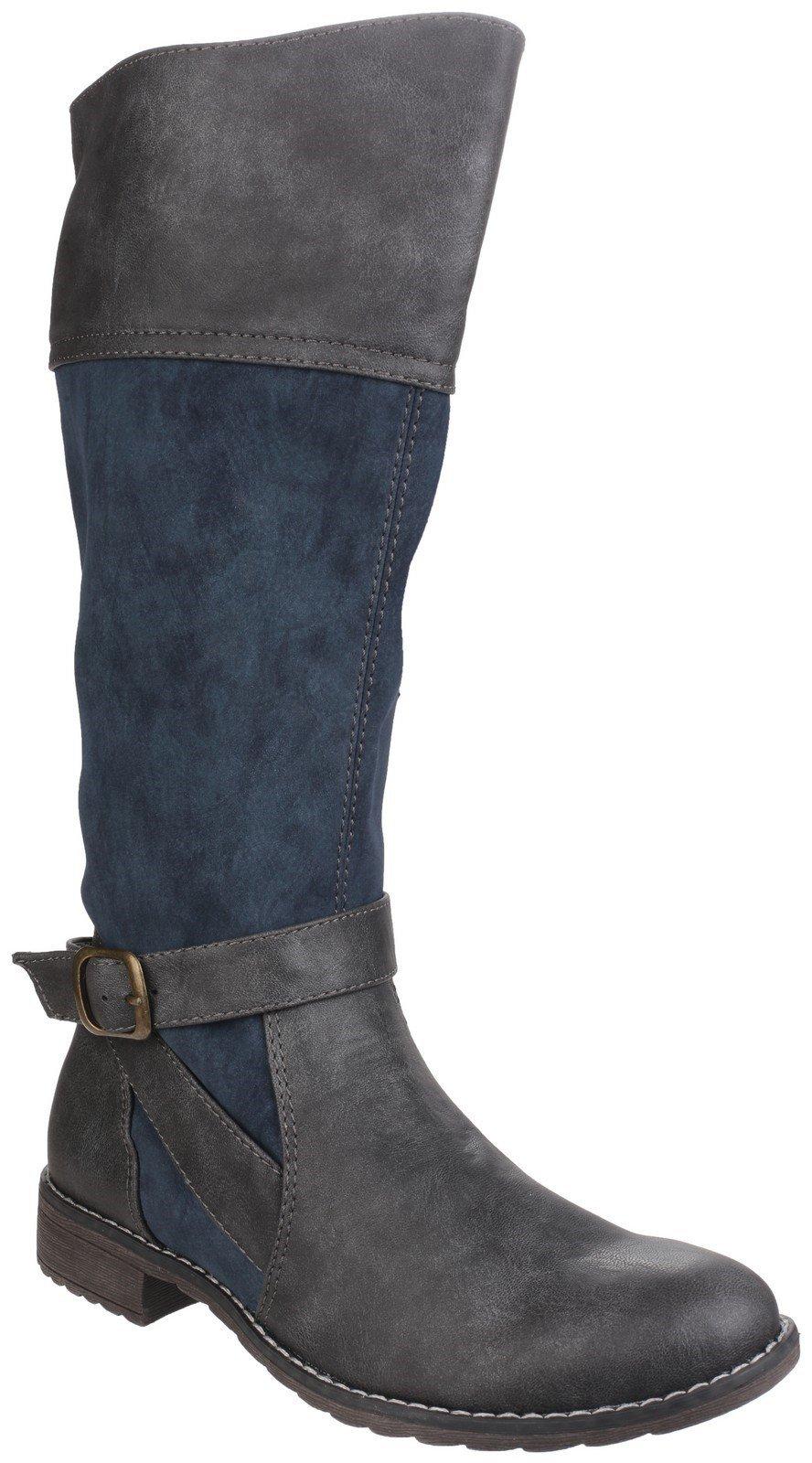 Divaz Women's Garbo Zip Up Boot Black 24268-40012 - Navy 3