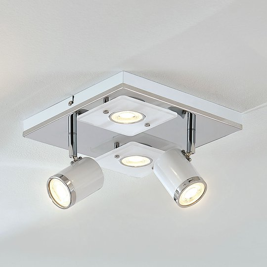 LED-kattovalaisin Alsuna, 4-lamppuinen, 24 x 24 cm
