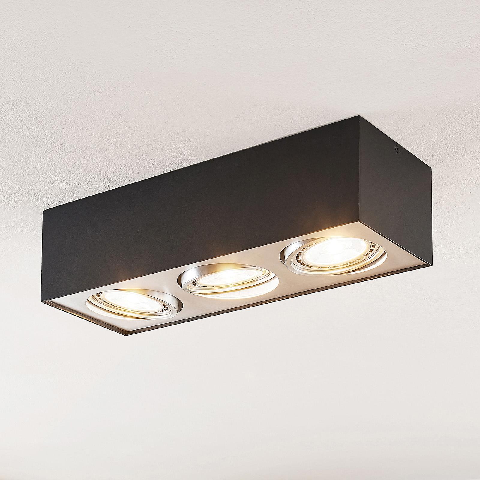 Arcchio Dwight -LED-kattovalo, musta 3-lamp.