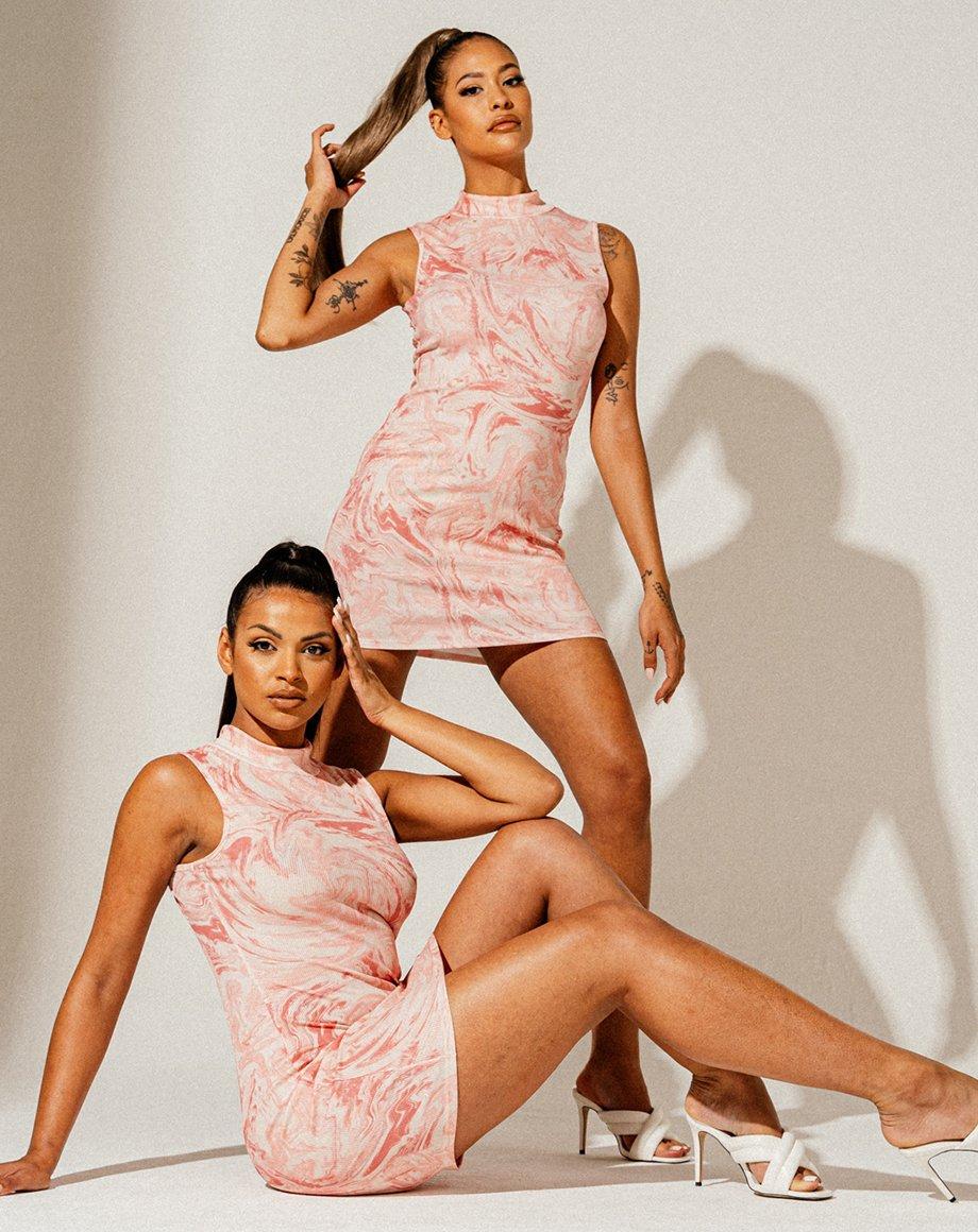 Effect Marble Print Ribbed Tie-Dye Dress - Pink / 6