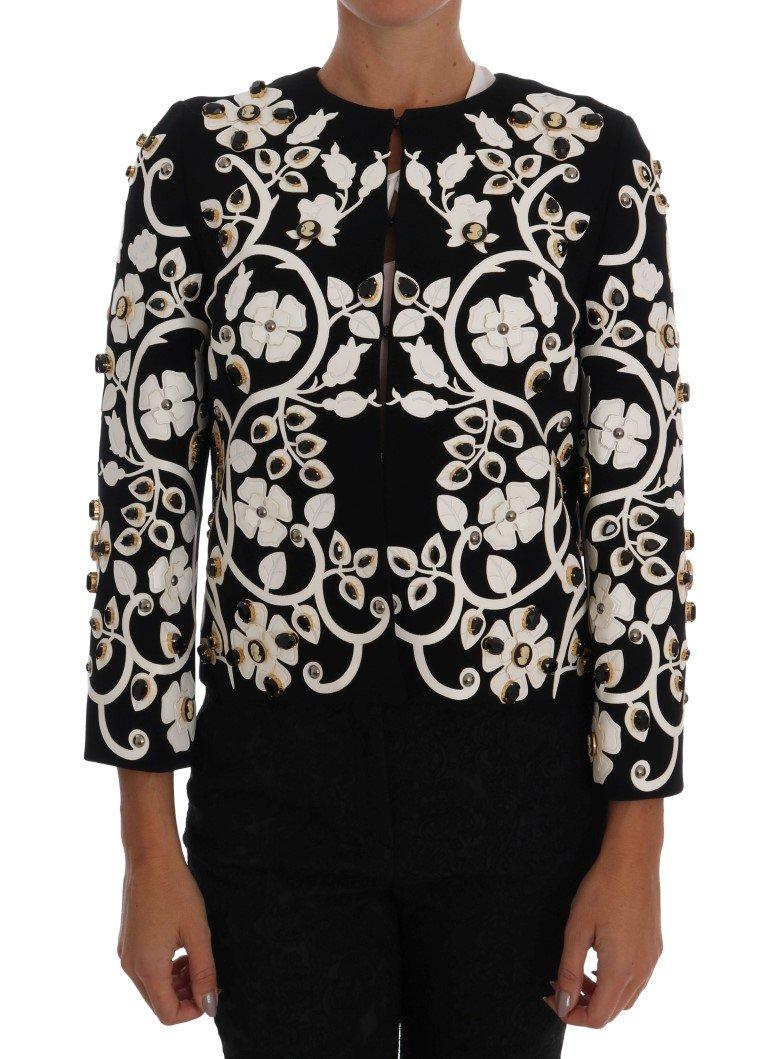 Dolce & Gabbana Women's Baroque Floral Crystal Jacket Multicolor JKT1042 - IT38 XS