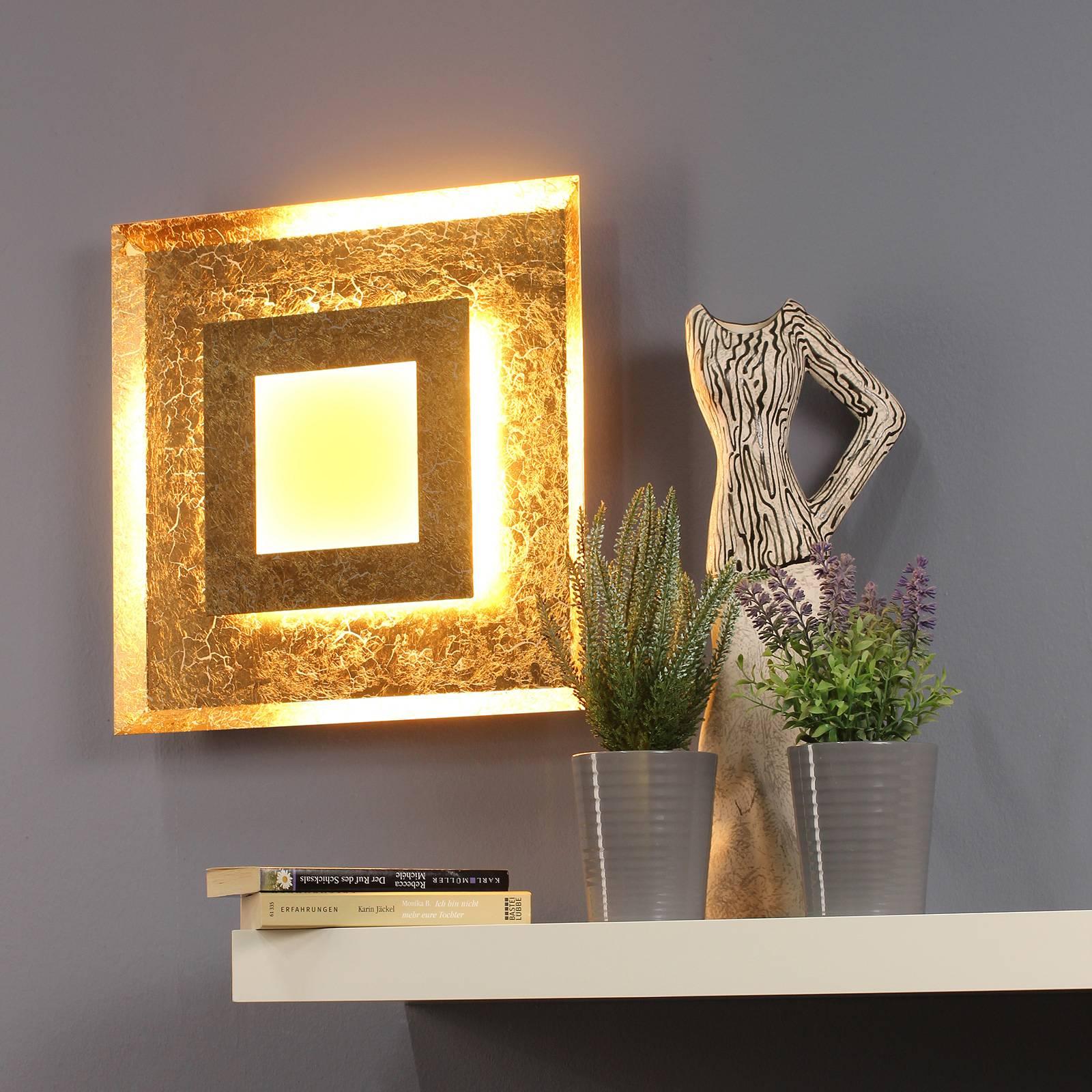 Window-LED-seinävalaisin, 39 x 39 cm, kulta
