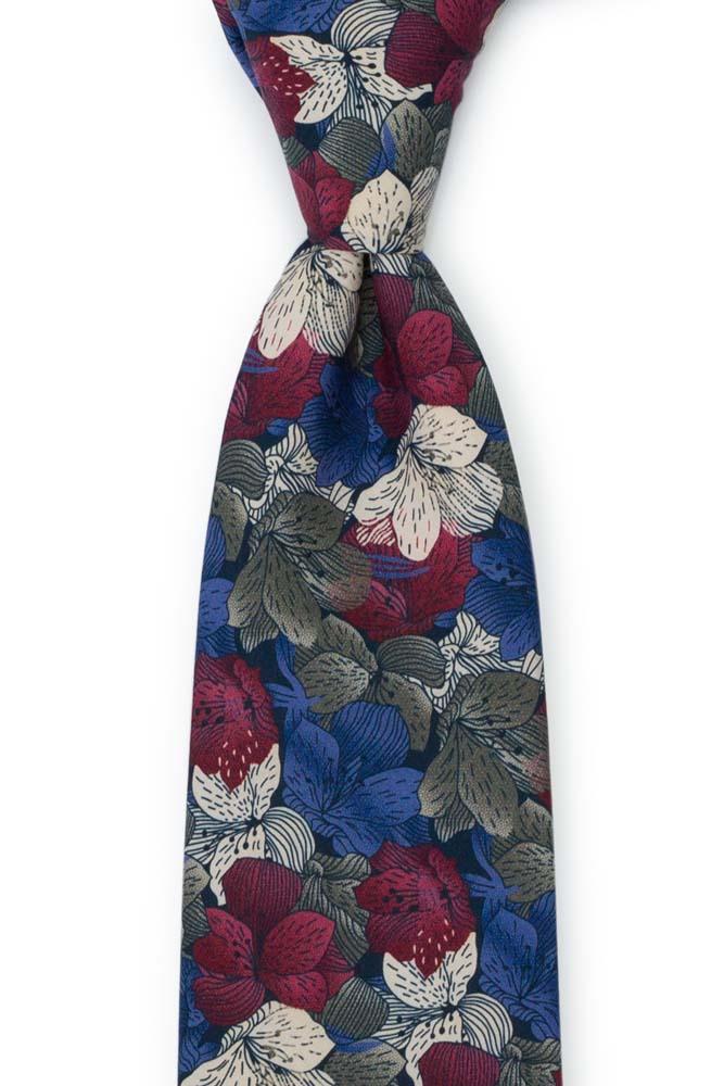 Bomull Slips, Blomster i hvitt, burgunder, khaki og lavendel, Lilla, Blomster