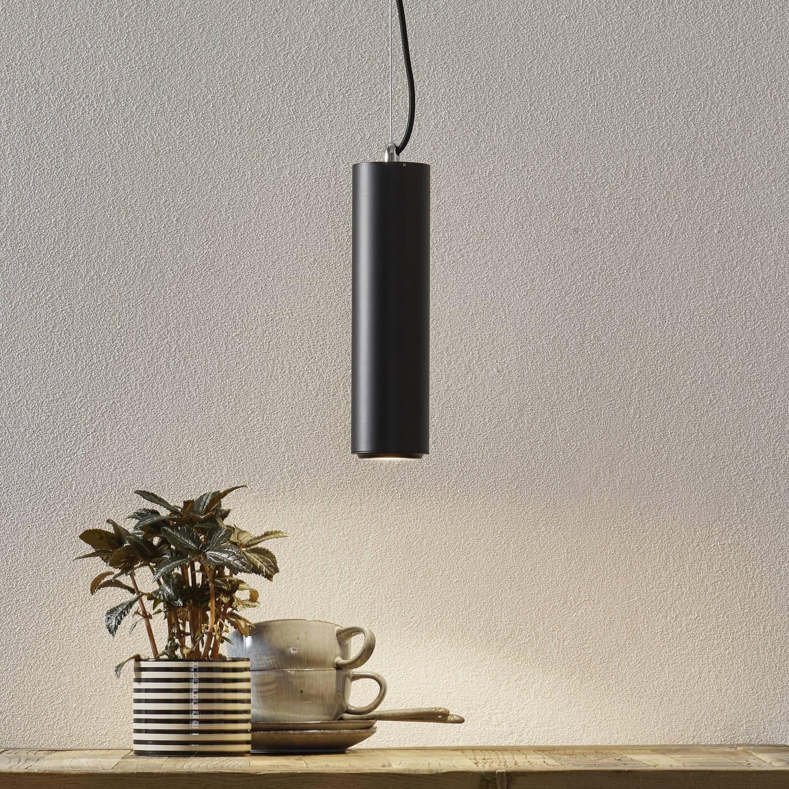 Studio - svart LED-pendellampe i sylinderform