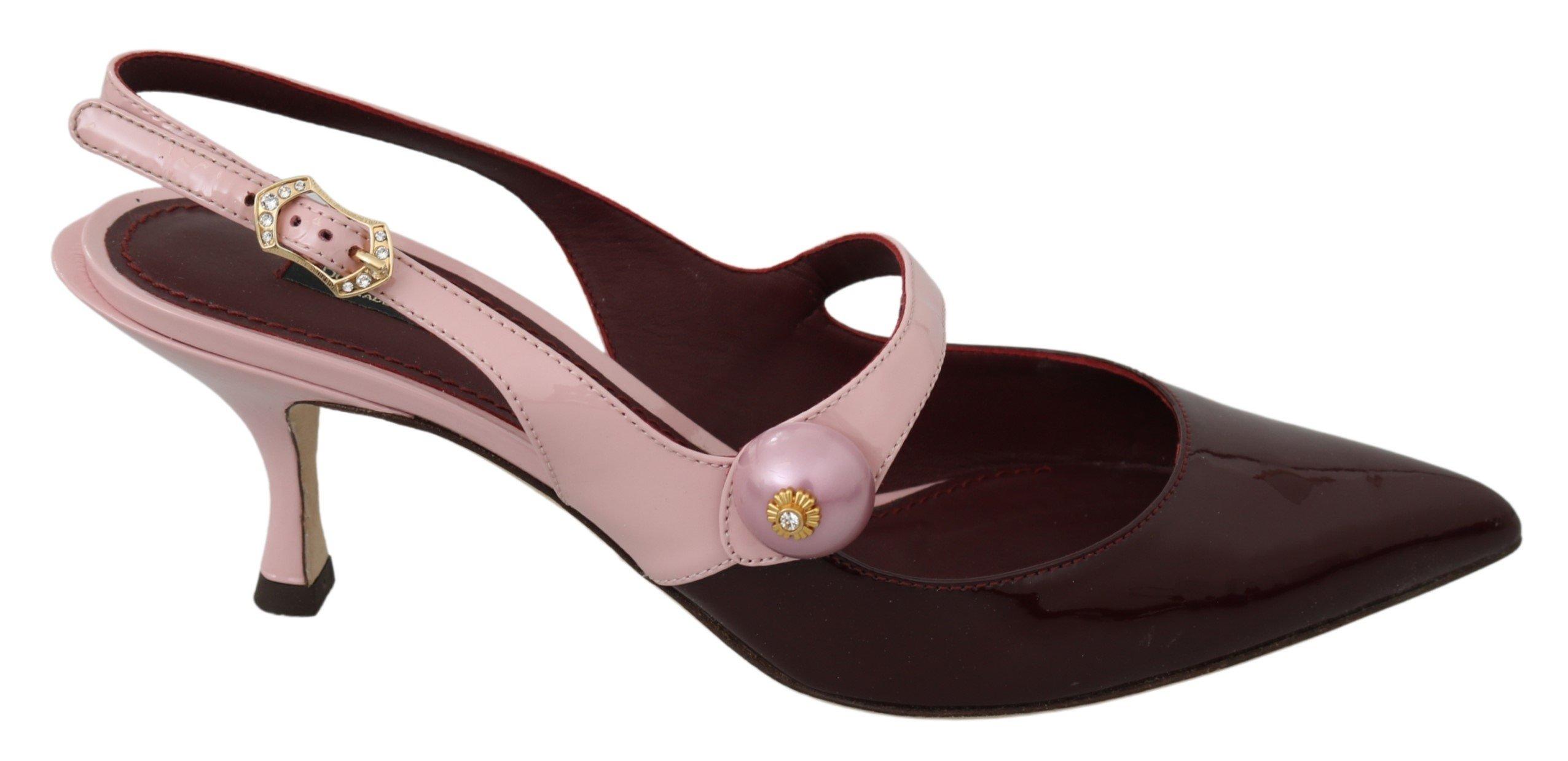 Dolce & Gabbana Women's Slingback Leather Heels Pink LA7135 - EU39.5/US6.5