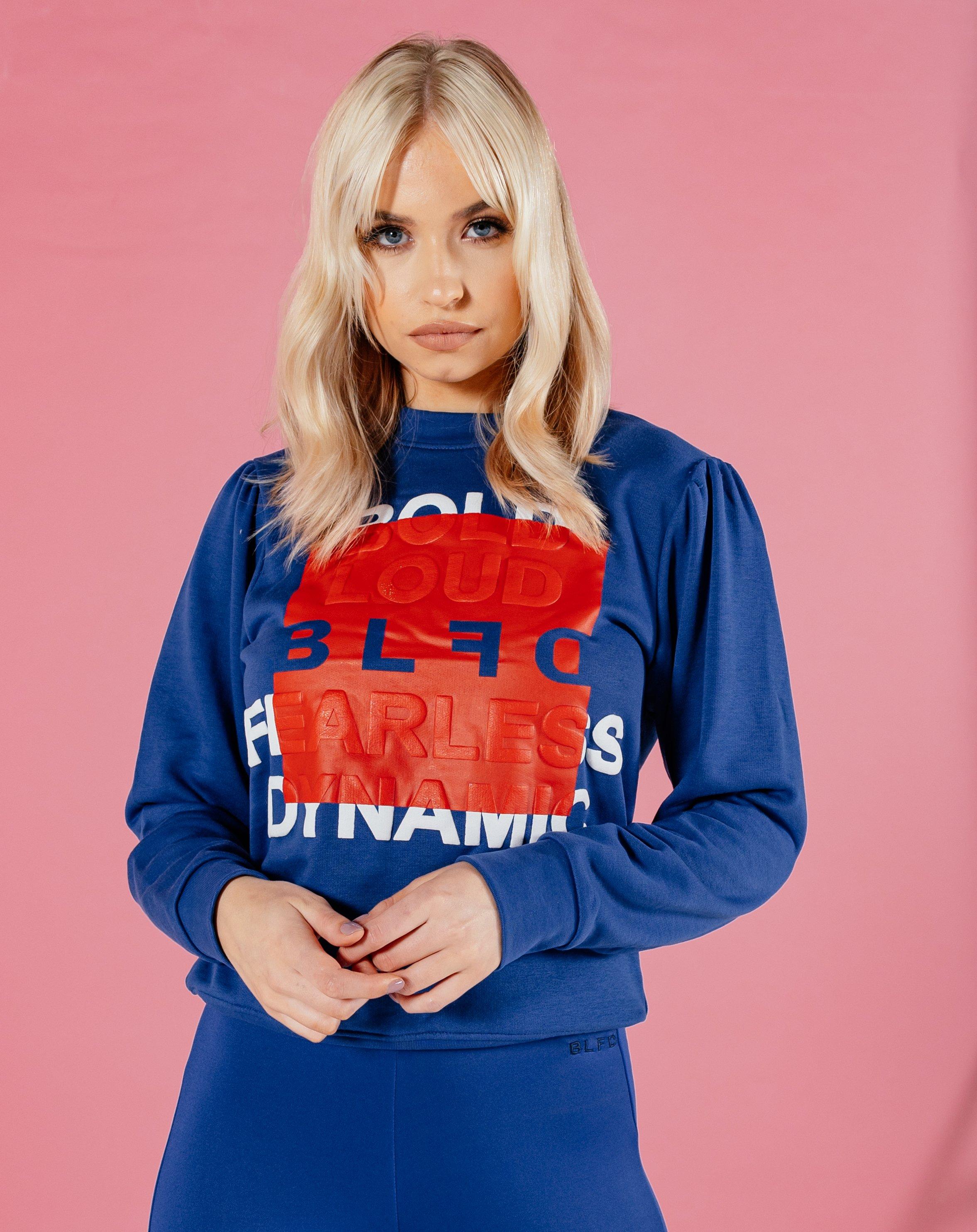 Beoka Women's Embossed Print Puff Sleeve Sweatshirt - Blue / 8
