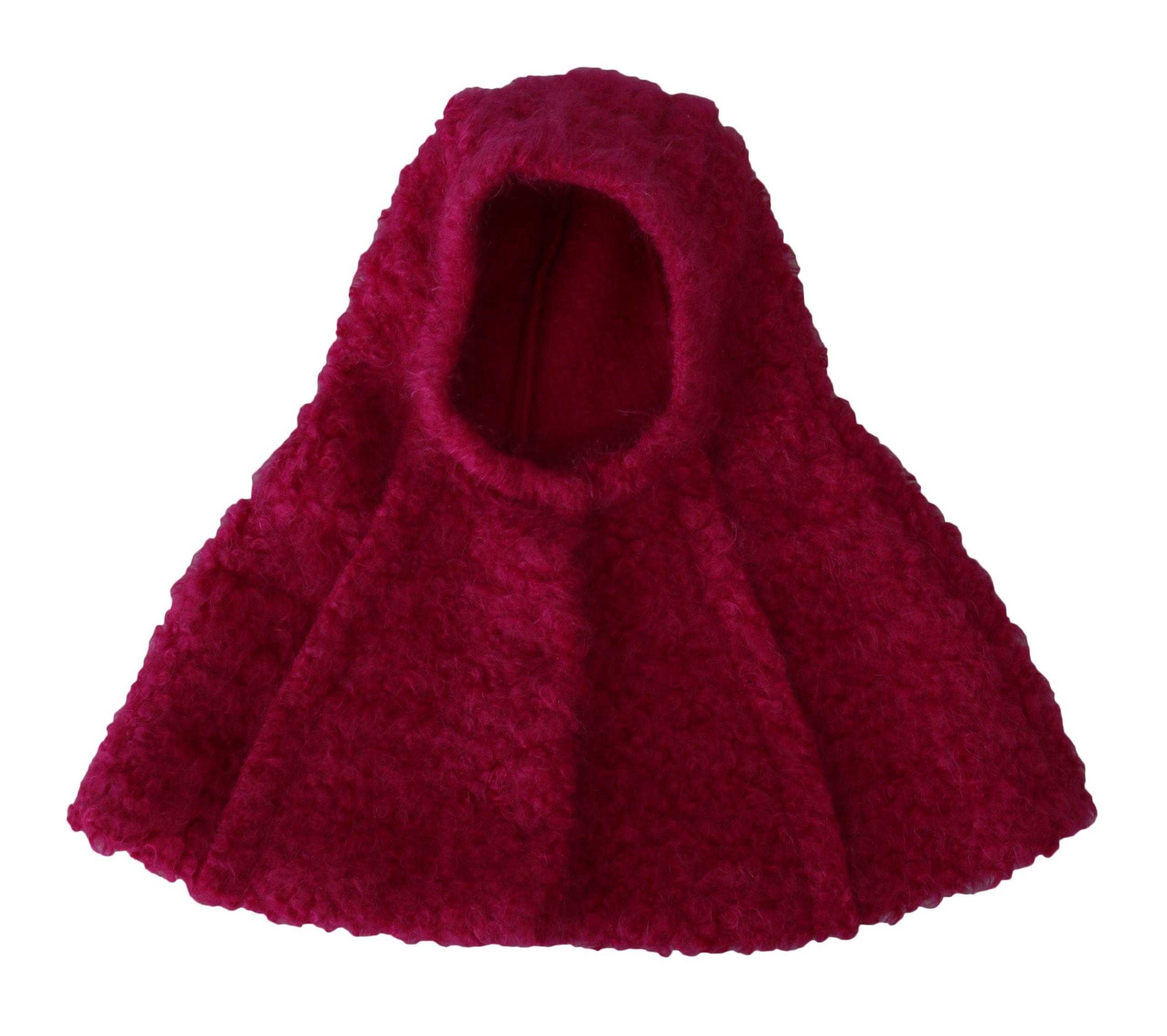 Dolce & Gabbana Women's Mohair Shearling Wool Hooded Hat Pink TSH4232 - 57 cm|S