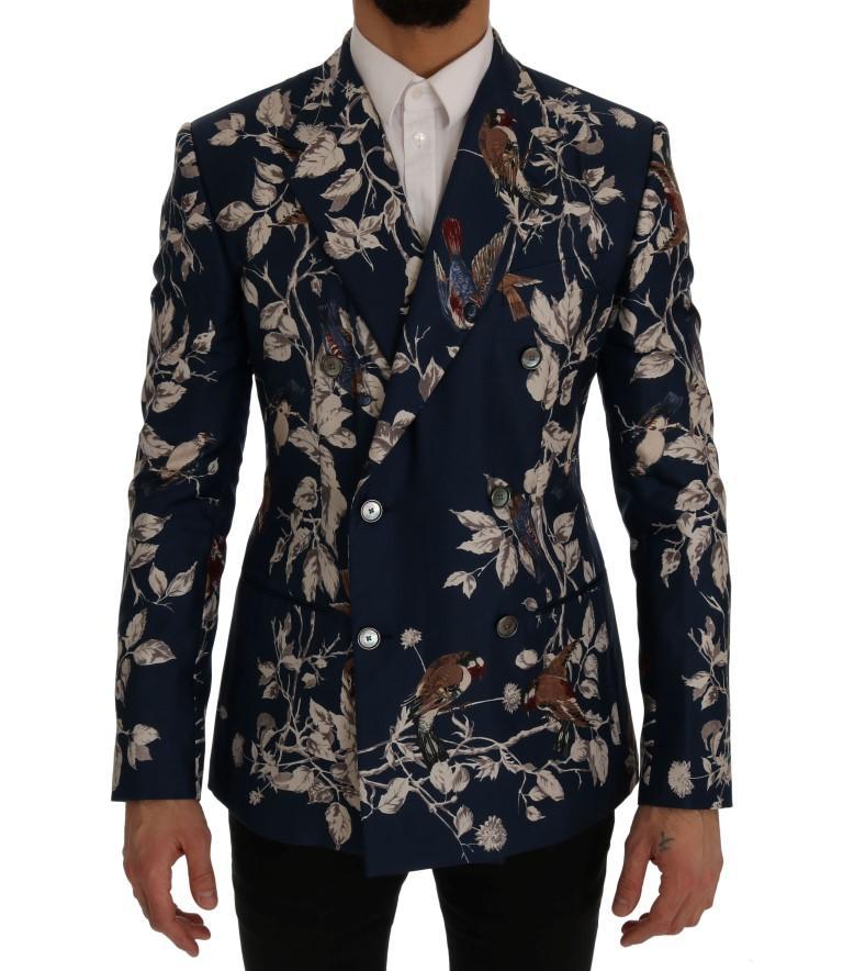 Dolce & Gabbana Men's Bird Print Silk Slim Fit Blazer Blue SIG60246 - IT44   XS