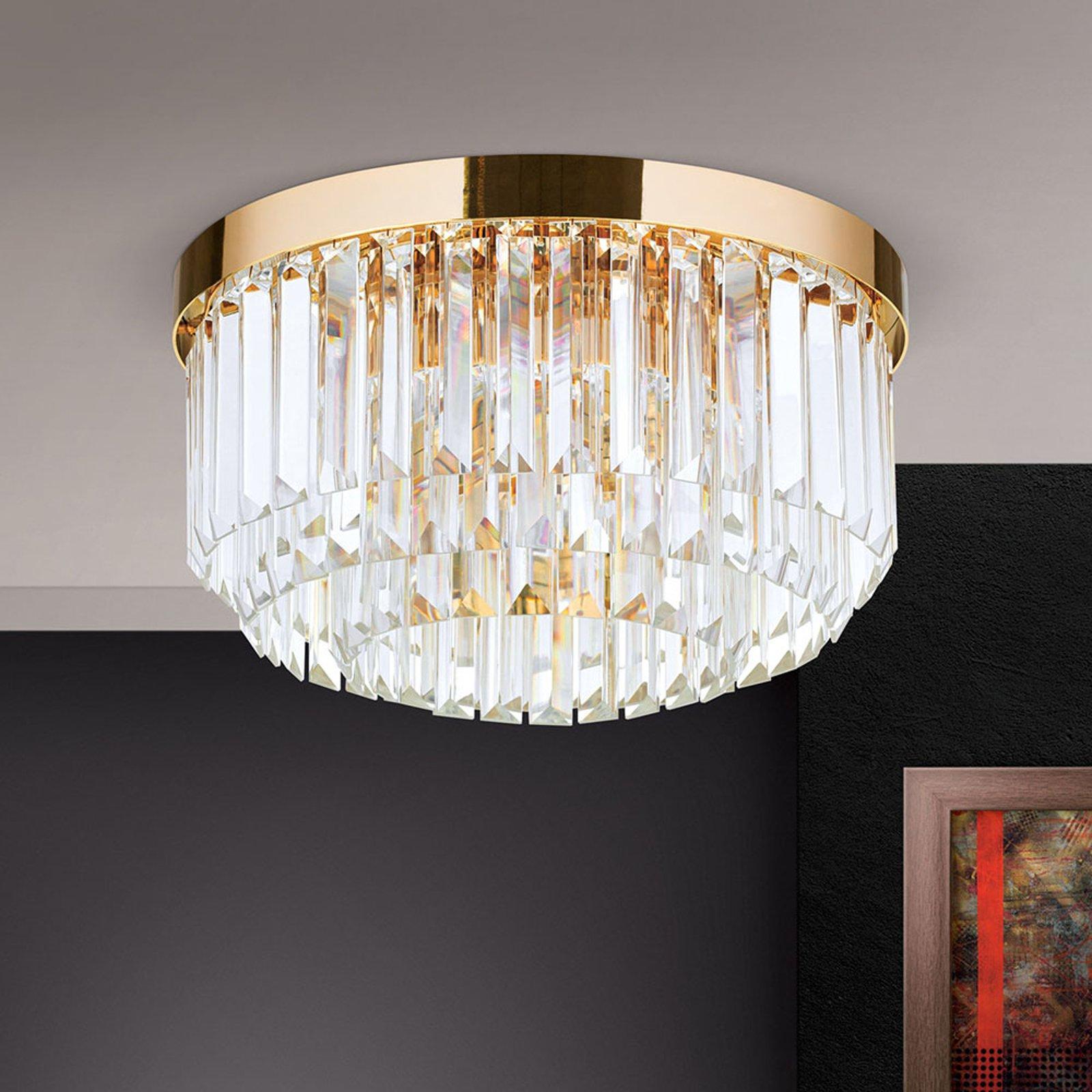 LED-taklampe Prism, gull, Ø 35 cm