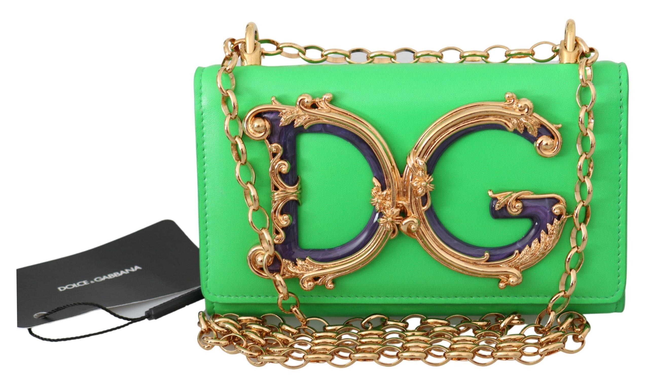 Dolce & Gabbana Women's Leather Logo iPhone X Cover Crossbody Bag Green VAS9907