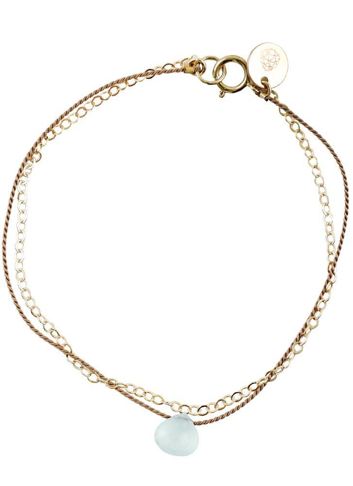 Wanderlust Life Gold & Silk Sea Glass Chalcedony Medium Bracelet