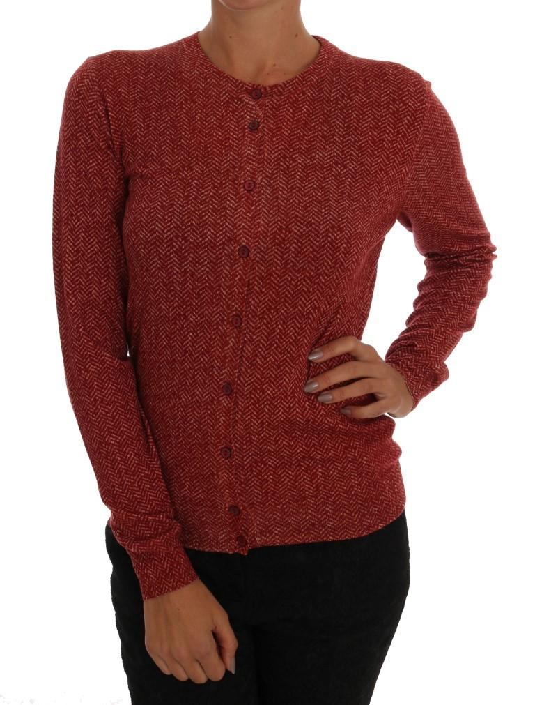Dolce & Gabbana Women's Wool Top Cardigan Red TSH1532 - IT44 L