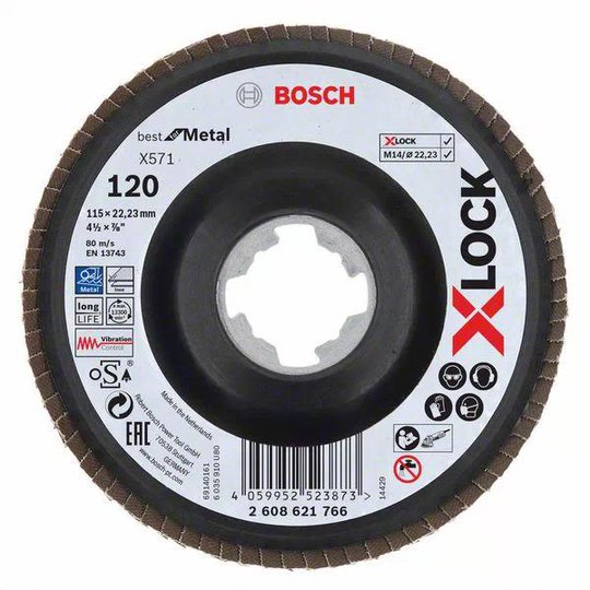 Bosch Best for Metal Lamellihiomalaikka x-LOCK X571, kulmassa 115 mm, G 120