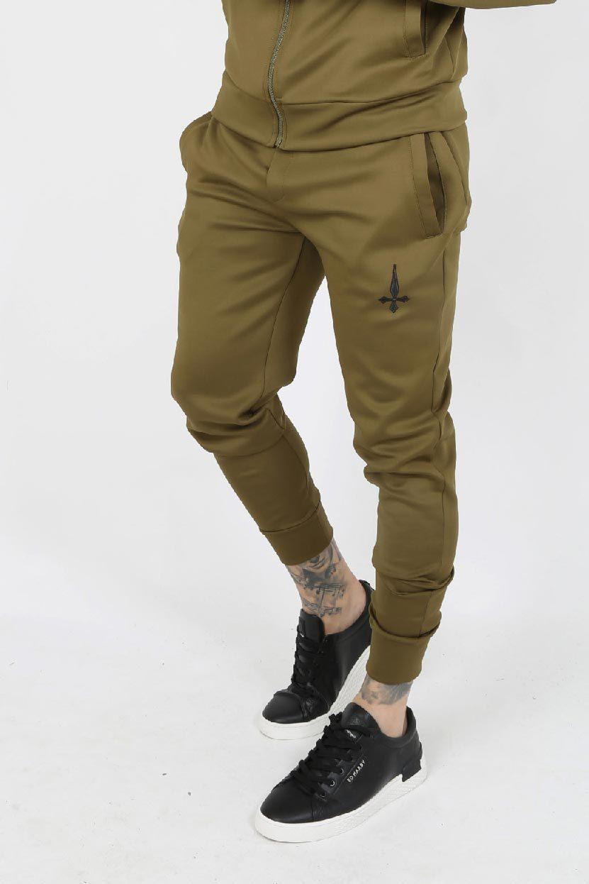 Slide Embroidery Scuba Men's Joggers - Khaki, Small