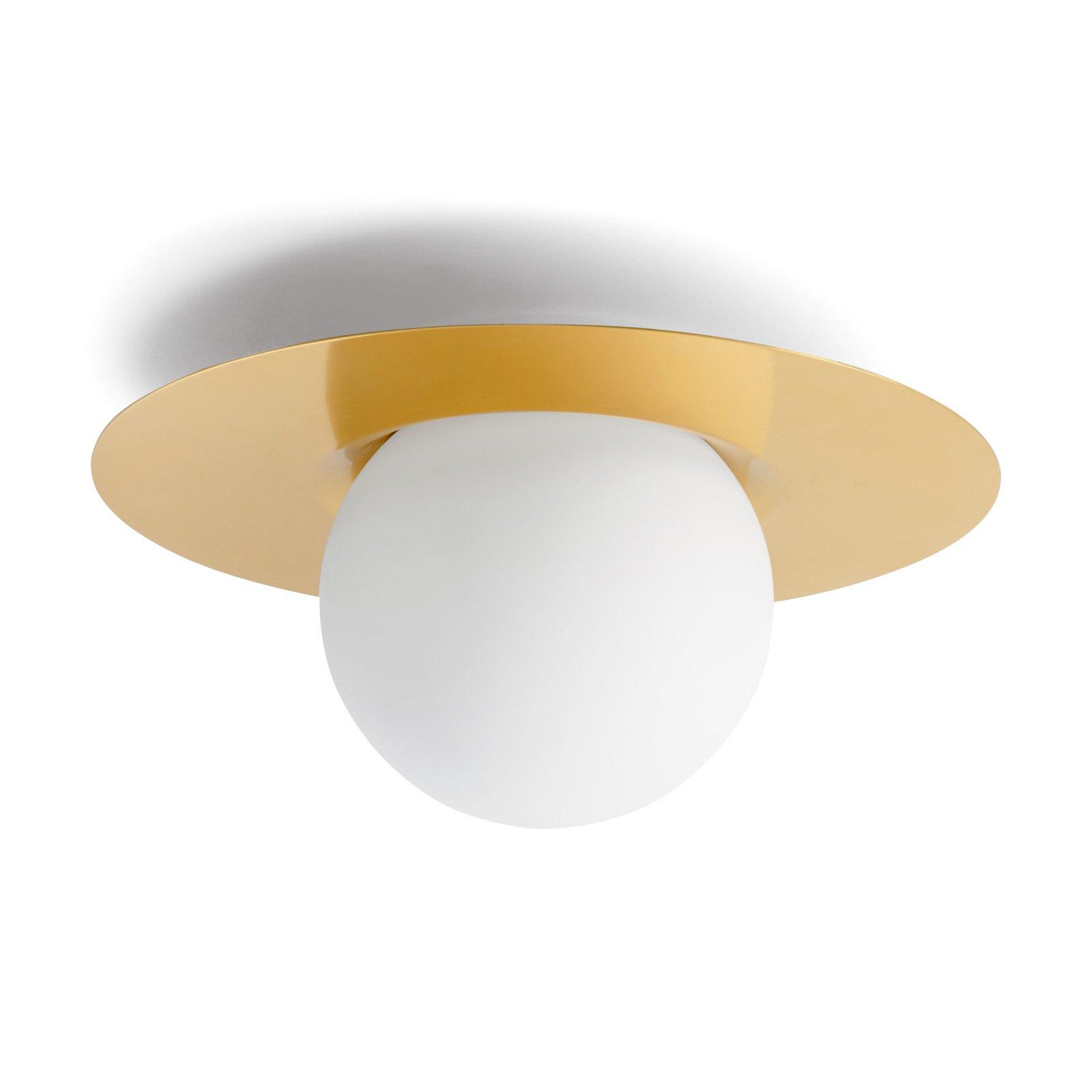Taklampe Hat av glass med messingplate