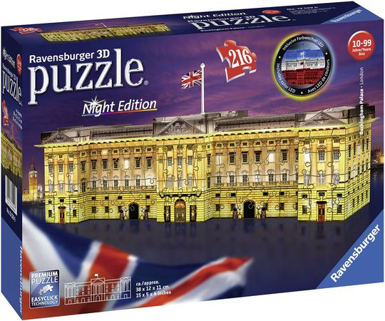 Ravensburger 3D-Puslespill Buckingham Palace Natt, 216 Brikker