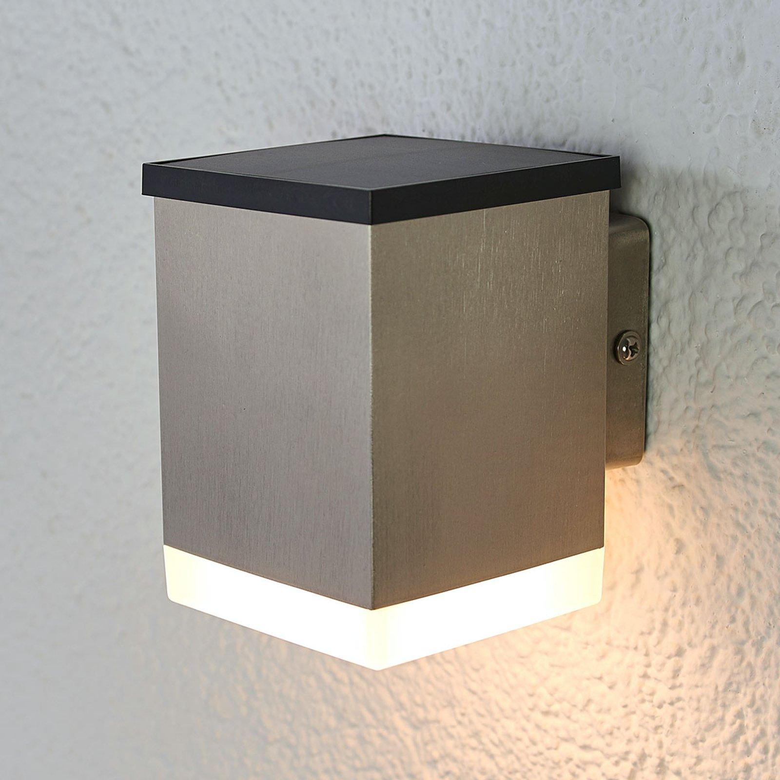 LED-solcelle-vegglampe Tyson, kantet, satinert
