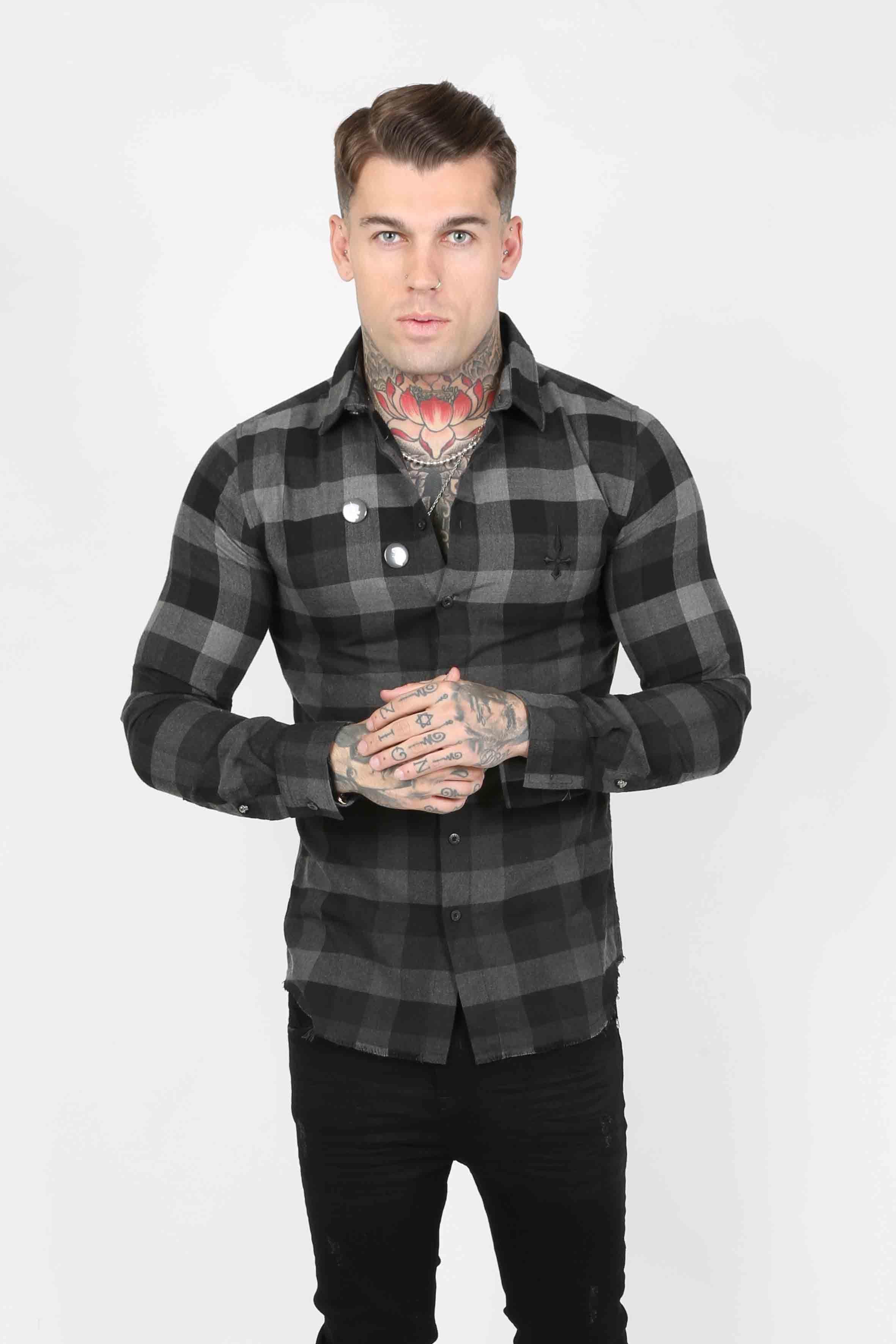 Squared Plaid Men's Shirt - Grey, Small
