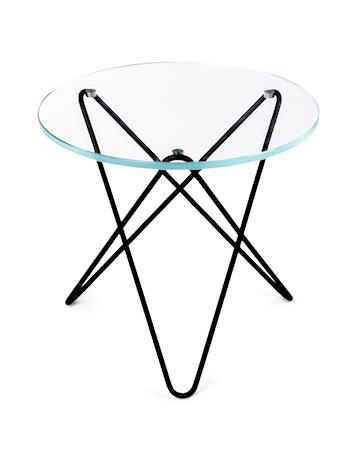 Mini O-table glass sidebord – Clear/black