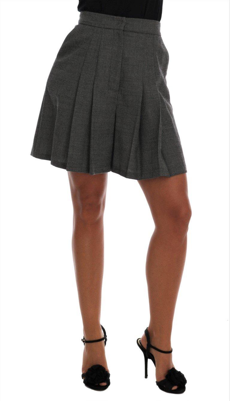 Dolce & Gabbana Women's Wool High Waist Mini Shorts Gray SKI1073 - IT40|S
