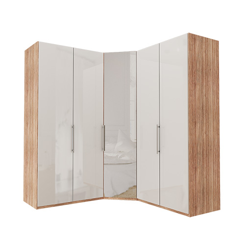 Garderobe Atlanta - Lys rustikk eik 100 + hjørne + 100, 216 cm