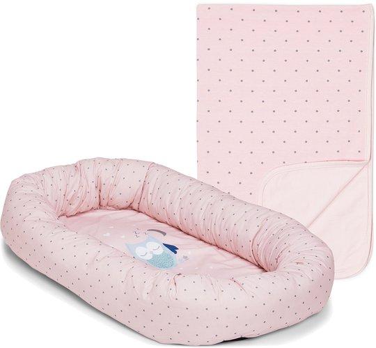 Alice & Fox Babynest Owl, Pink + Alice & Fox Teppe Dots, Pink