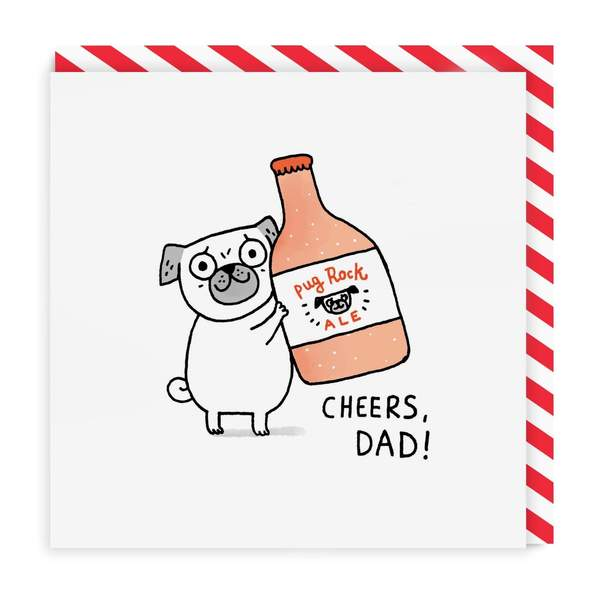 Dad Cheers Pug Square Greeting Card