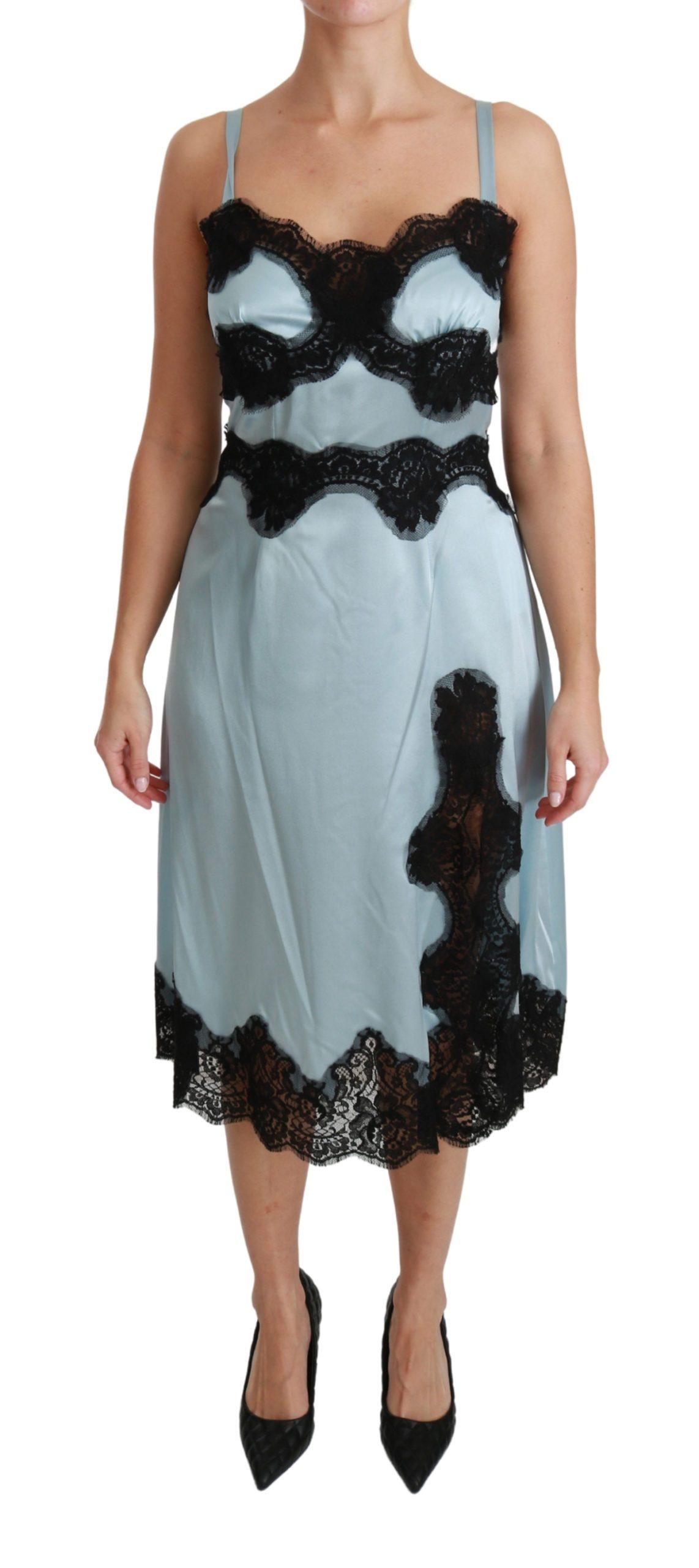 Dolce & Gabbana Women's Silk Lingerie Slip Lace Midi Dress Blue DR2490 - IT42|M