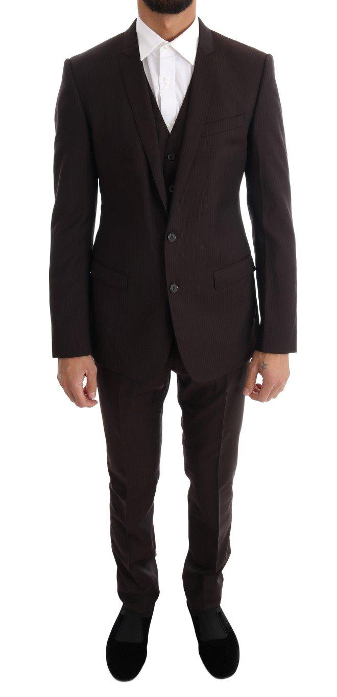 Dolce & Gabbana Men's Striped GOLD Slim Fit 3 Piece Suit Brown KOS1077 - IT46   S