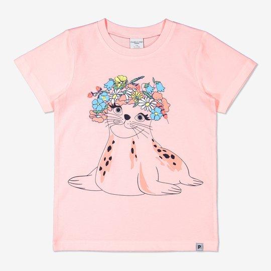 T-skjorte med trykk lysrosa