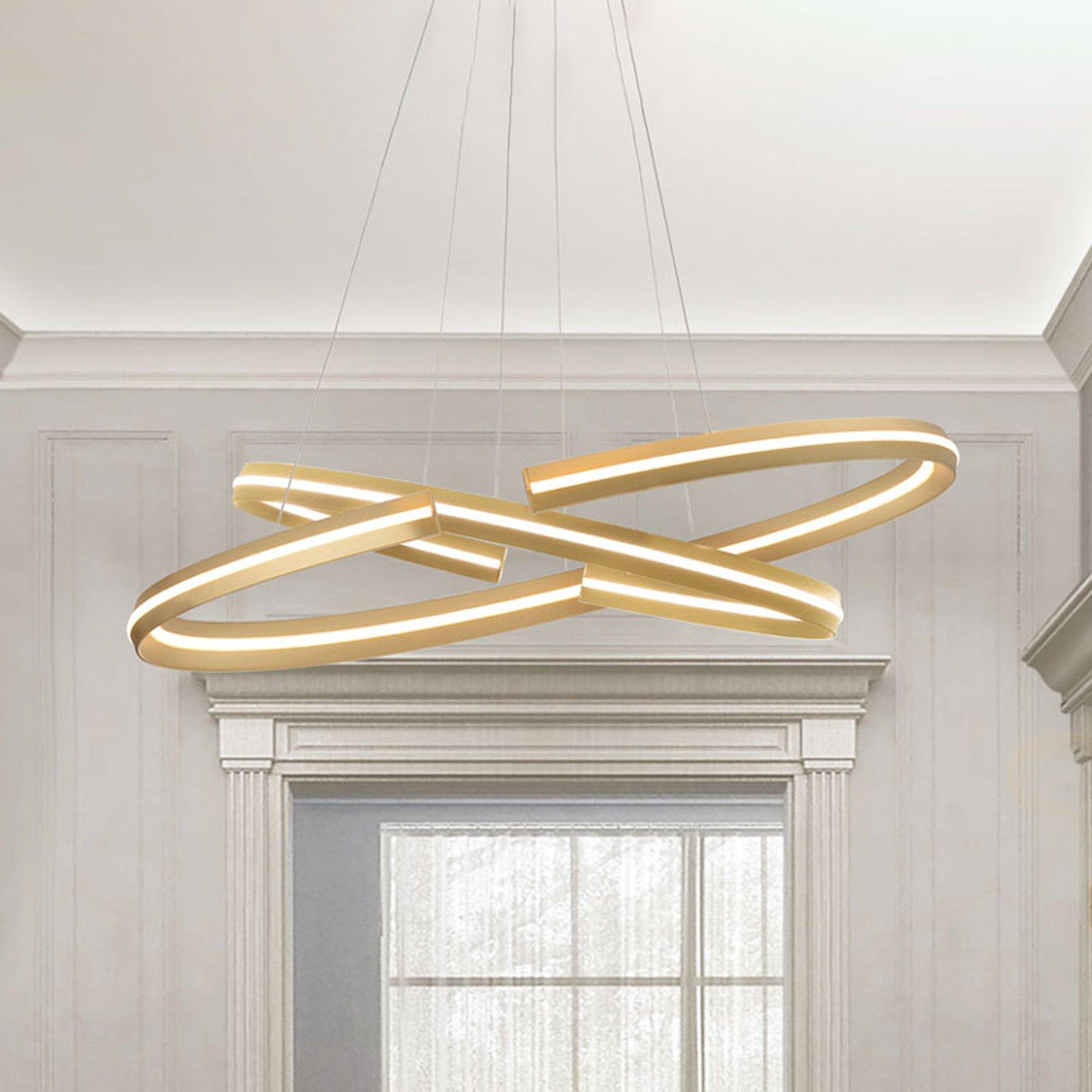 LED-hengelampe Elipse i oval form, 80x40 cm