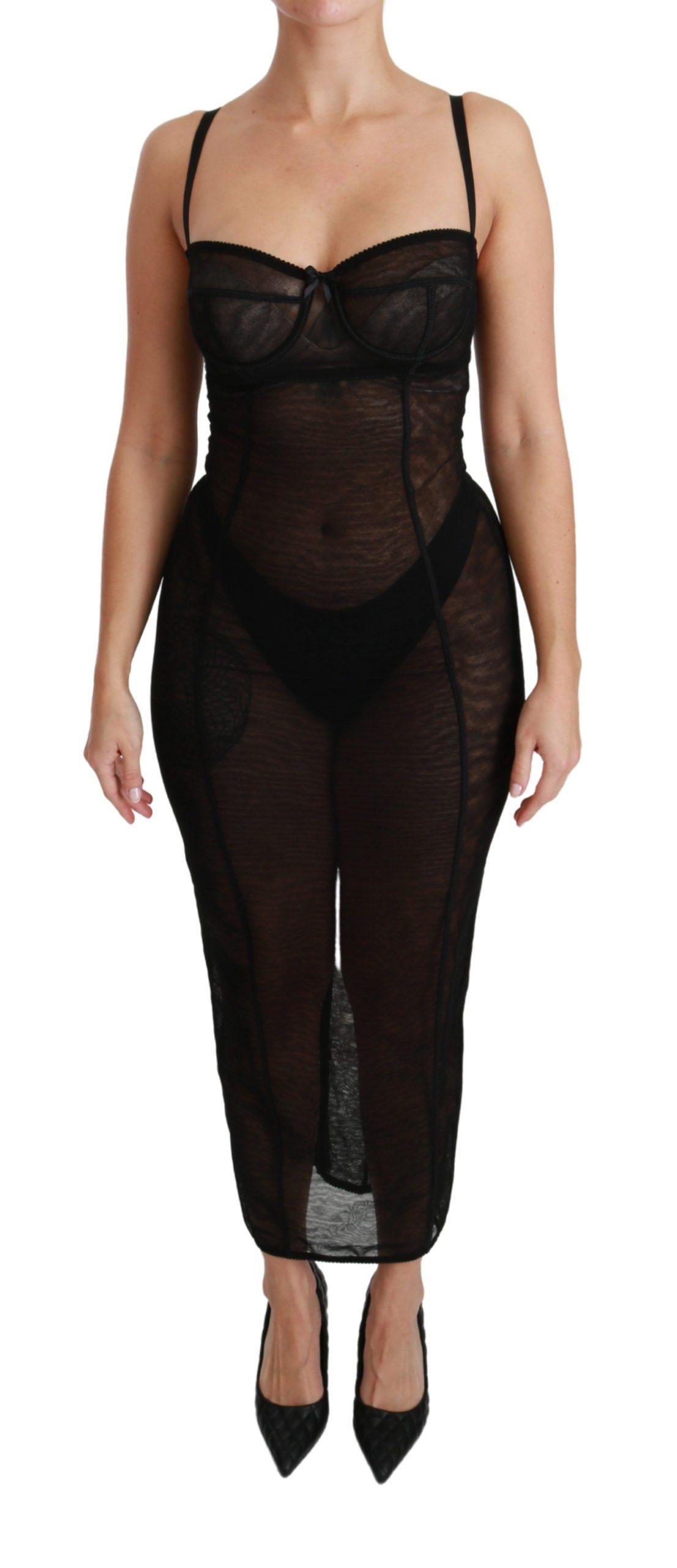 Dolce & Gabbana Women's Sheer Mesh Corset Bustier Dress Black DR2487 - IT40|S