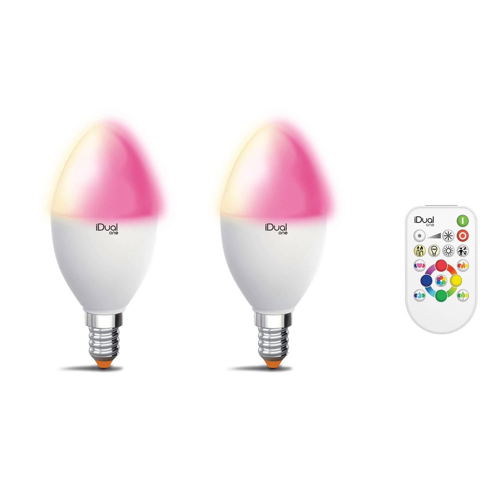 iDual One E14 P45 5,3W 2 kpl RGBW kaukosäädin