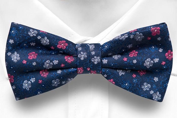 Silke Sløyfer Knyttede, Marineblå kypebase, små blomster i rød & to blå