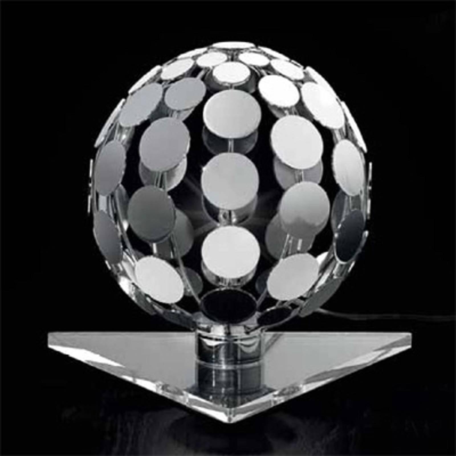 Sfera bordlampe med transparent fot, 10 cm