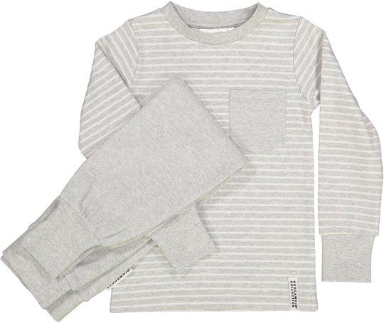 Geggamoja Pyjamas Classic, Light Grey Stripe 74-80