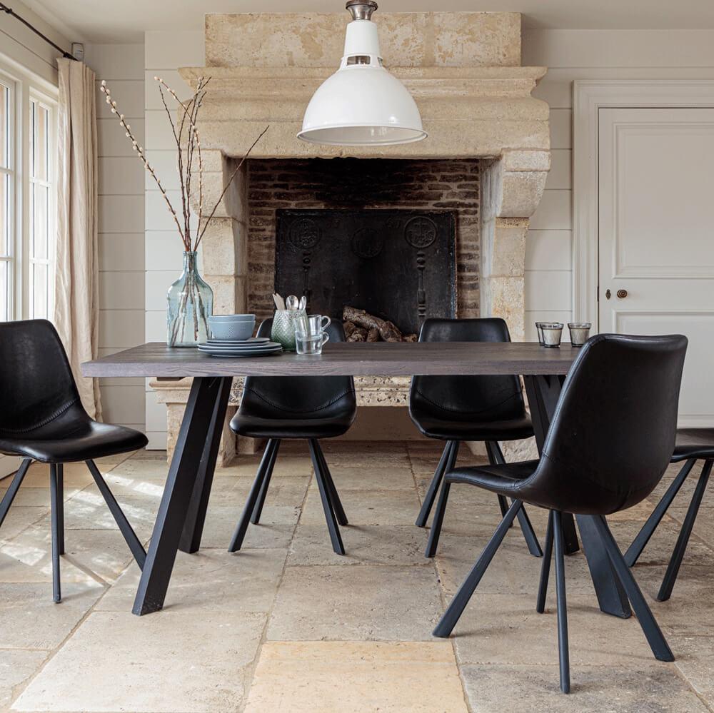 Valencia Solid Oak Dining Set - Dark Oak, with Dali Dining Chairs - Black