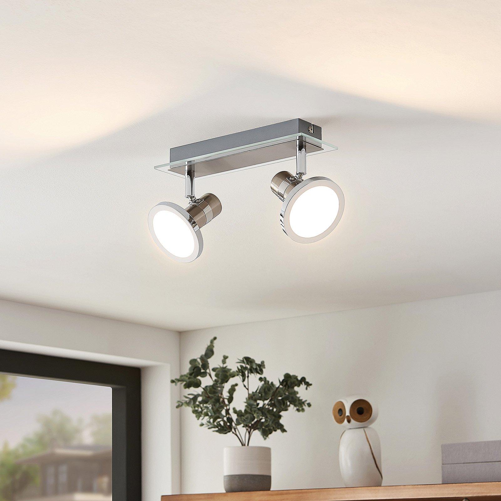 Lindby Kajetan LED-lyskaster, nikkel, 2 lyskilder
